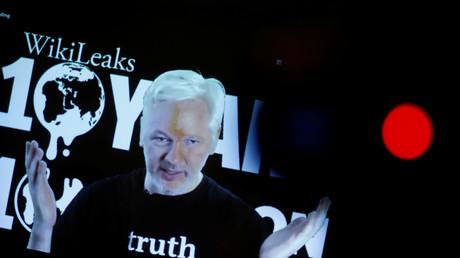 Per Videostream in Berlin dabei: WikiLeaks-Herausgeber Julian Assange.