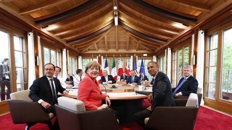 G7-Treffen 2015 auf Schloss Elmau: Staatschefs einigen sich auf Verlängerung der Sanktionen gegen Russland.