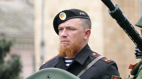 Arseni Pawlow während der Generalprobe zu den Feierlichkeiten der Militärparade am 7. Mai 2016 in Donezk