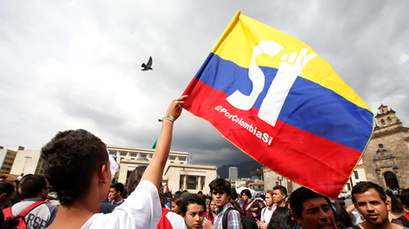 Studenten auf einer Demonstration der Unterstützer für das Friedensabkommen in Bogota, Oktober 2016.