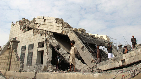 Durch saudische Luftangriffe zerstörte Schule bei Saddam, Jemen, 14. September.