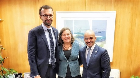 Serhij Leschtschenko und Mustafa Najem mit der Sonderbeauftragten des State Department für Europa und Eurasien, Viktoria Nuland, im September 2016 in Washington. Quelle: Facebook-Account von Mustafa Najem.