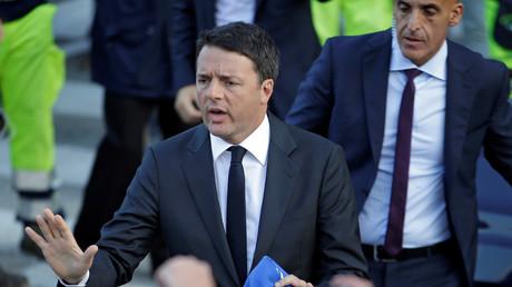 Der italienische Ministerpräsident in Camerino nach dem Erdbeben, Camerino, Italien, 27. Oktober 2016.