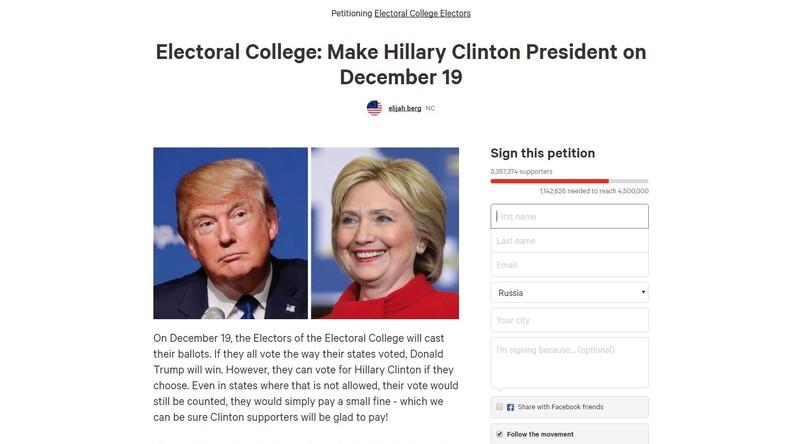 Mehr als 3 Millionen US-Bürger rufen das Wahlmännerkollegium auf, für Hillary Clinton zu stimmen