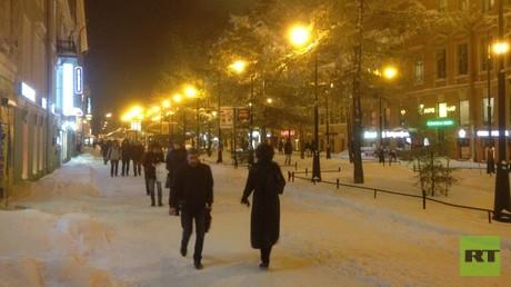 Eingeschneit: St. Petersburg ganz in Weiß.