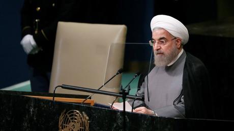 Eine weitere Amtszeit würde den Iran auf dem Weg der Reformen halten - Hassan Rouhani bei einer Rede vor den Vereinten Nationen.
