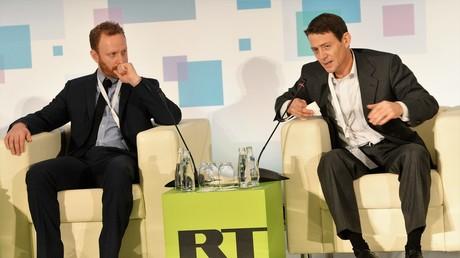 US-Journalist Max Blumenthal (links) und Charles Bausman, der Chefredakteur von Russia Insider, auf der RT-Konferenz