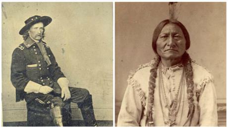 Das Oberhaupt der Hunkpapa-Lakota-Sioux, Sitting Bull, und Offizier George Armstrong Custer vom 7. US-Kavallerie-Regiment.