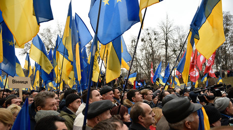 Ukrainische Nationalisten protestieren vor Justizministerium gegen Aufnahme von Flüchtlingen (Symbolbild)