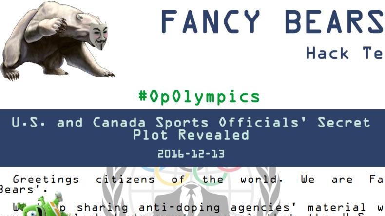 Fancy Bears veröffentlichen Dokumente über Komplott von den USA und Kanada gegen IOC