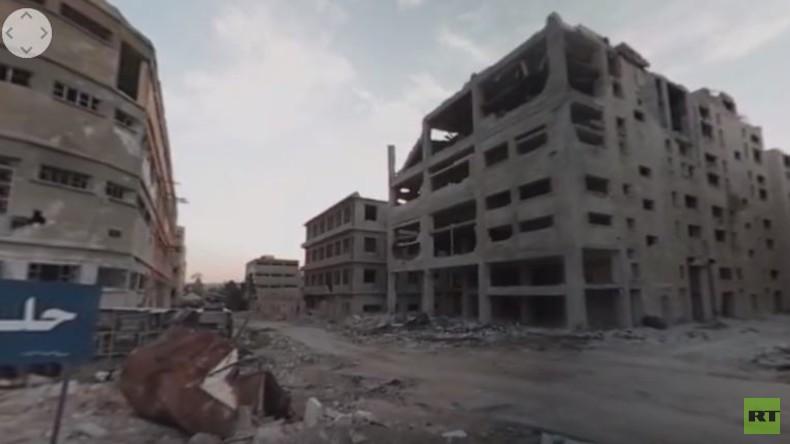 Gespenstisch: Zerstörte Straßenzüge in Ost-Aleppo im 360° Video