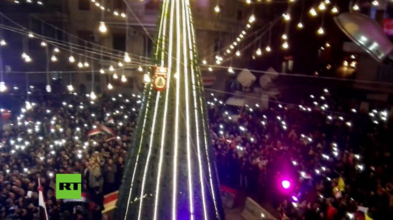 Aleppo nach der Befreiung: Hunderte nehmen an feierlicher Anschaltung der Weihnachtsbeleuchtung teil