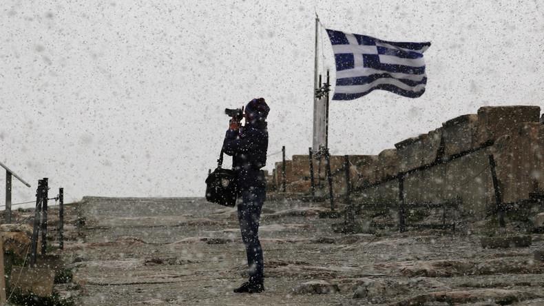 Seltene Naturerscheinung: Schnee in Athen