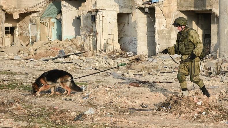 Russische Militärpioniere machen 1.072 Hektar in Aleppo minenfrei