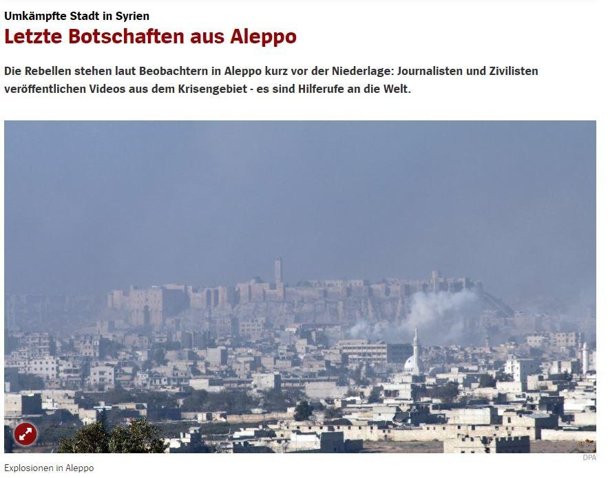 """""""Aleppo steht vor dem Fall"""" - Die eigentümliche Parteinahme des Spiegels führt zu Leser-Shitstorm"""
