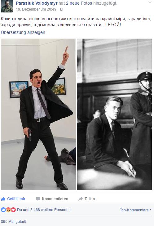Ukrainischer Politiker stilisiert den Mörder des Botschafters zum Helden