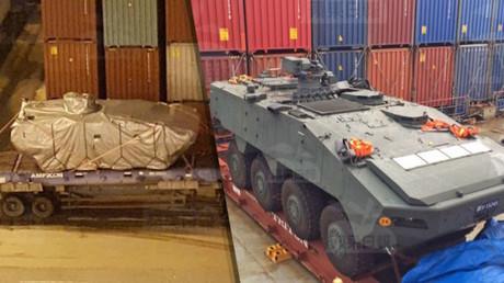 Singapurische Diplomaten bemühen sich derzeit um die Herausgabe im Hafen von Hongkong aufgebrachter Militärfahrzeuge.