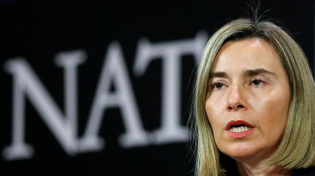 Federica Mogherini auf dem Treffen der NATO-Außenminister in Brüssel.