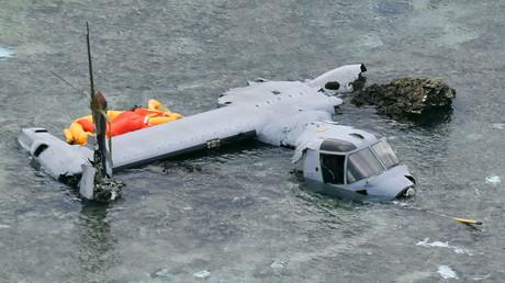 Die abgestürtzte U.S. Marine Corps MV-22 Osprey, 14. Dezember 2016, Okinawa.