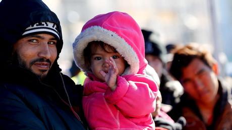 Migranten an der deutsch-österreichischen Grenze nahe Passau.