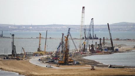 Foto der Baustelle für die Brücke von Kertsch