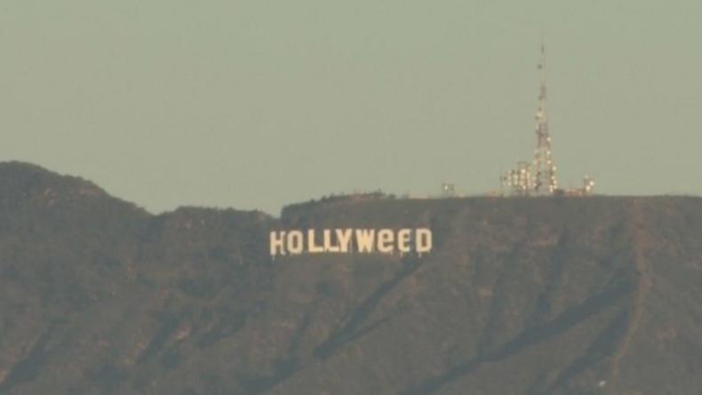 """Unbekannte ändern Hollywood-Schild in Los Angeles in """"Hollyweed"""" um"""