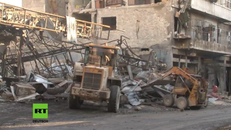 Ost-Aleppo nach der Befreiung: Aufräumarbeiten in vollem Gange -  Erste Fabriken eröffnen wieder