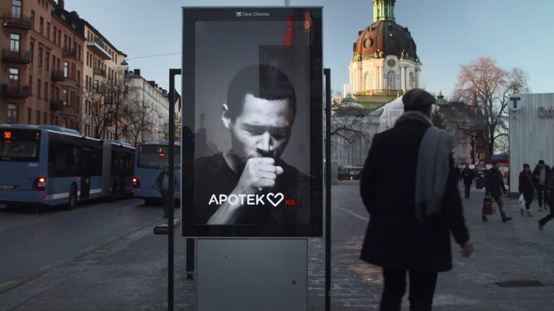 """Anti-Raucherkampagne in Schweden: Werbeplakat """"hustet"""" bei Zigarettenrauch"""