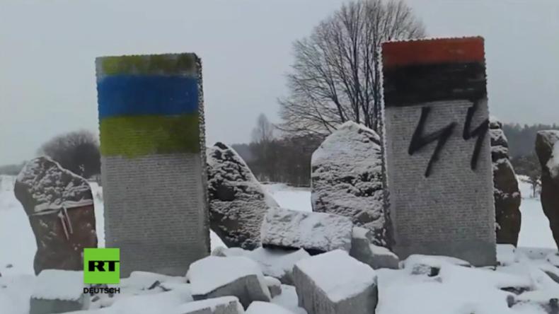 Ukraine: Denkmal für Nazi-Opfer gesprengt und Überreste mit SS-Runen beschmiert