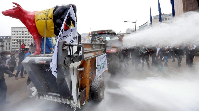 Landwirte verstreuen eine Tonne Milchpulver auf EU-Ratsgebäude