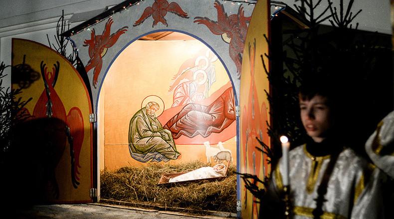 Krippenspiel in der Kathedrale des Propheten Elija in Wyborg, im Nordwesten Russlands