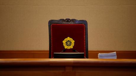 Südkoreas Verfassungsgericht erörtert Amtsenthebung von Park Geun-hye. Auf dem Bild: Ein Richterstuhl im Verfassungsgericht der Republik Korea