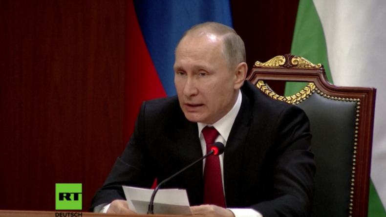 Putin in Duschanbe zum afghanischen Drogenexport.