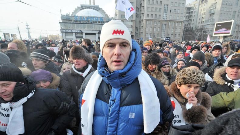 Milliardär Michail Prochorow auf dem Bolotnaja-Platz