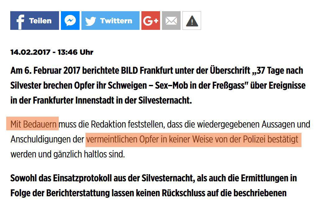 Erst berichten, dann recherchieren: BILD erfindet Frankfurter Silvester-Sexmob