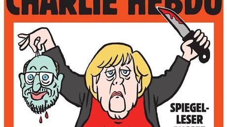 Charlie Hebdo stellt Angela Merkel mit abgeschnittenem Kopf von Martin Schulz dar