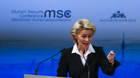 Ursula von der Leyen, Bundesministerin der Verteidigung im Kabinett Merkel III., hält eine Rede bei der SIKO 2016...