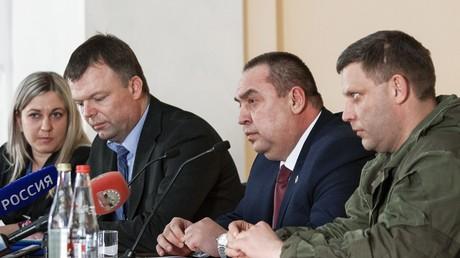 Die Leiter der selbernannten Volksrepubliken Lugansk und Donezk, Igor Plotnizki und Aleksandr Sachartschenko.