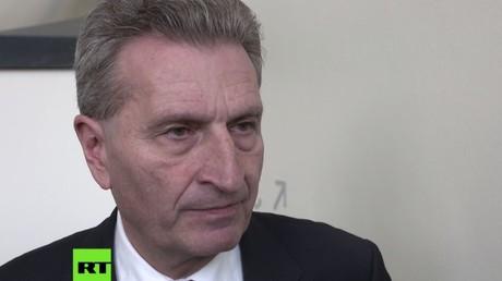 EU-Kommissar für Digitalisierung Günther Oettinger auf dem Wirtschaftstag der Innovationen.