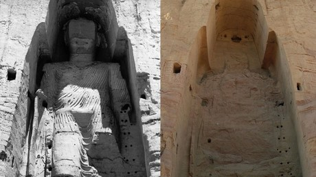 Die zerstörte Buddha-Statue im Tal von Bamiyan