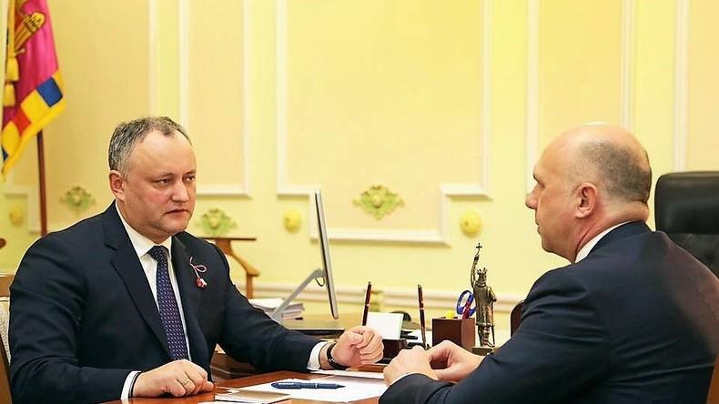 Moldawischer Präsident Igor Dodon und Premier Pawel Philip. Quelle: Facebook von Igor Dodon