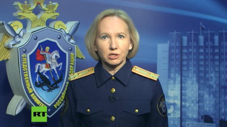 Sprecherin der russischen Untersuchungsbehörde gibt Pressekonferenz in Moskau.