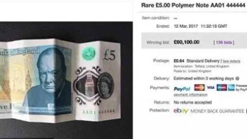 Fünf-Pfund-Schein mit Seriennummer AA01 444444 für 60.000 Pfund versteigert