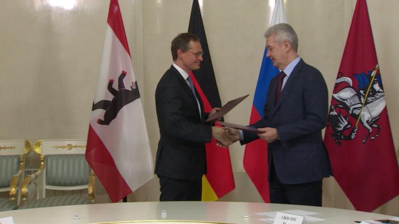 Moskauer und Berliner Bürgermeister, Sobjanin und Müller.