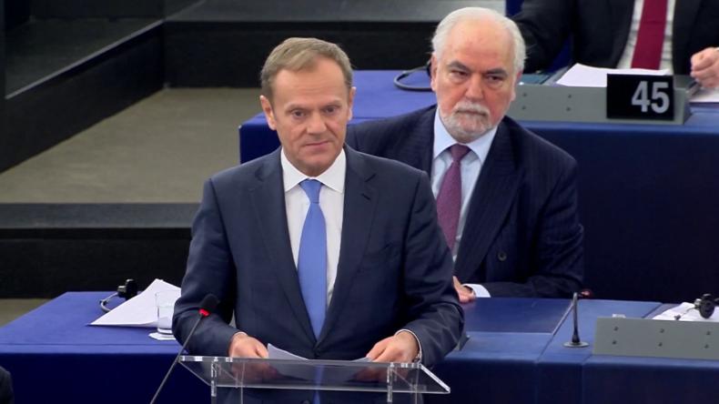 EU-Ratspräsident spricht zur Zukunft der EU.