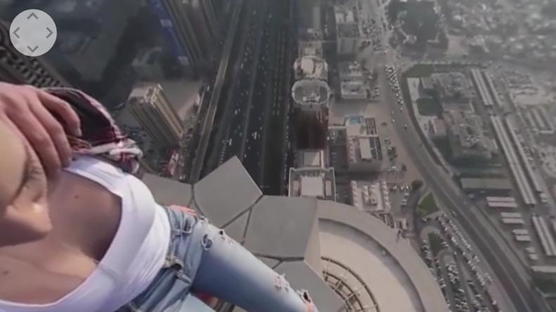 Russischer Roofer entführt Freundin auf den Jahrtausend-Turm in Dubai.