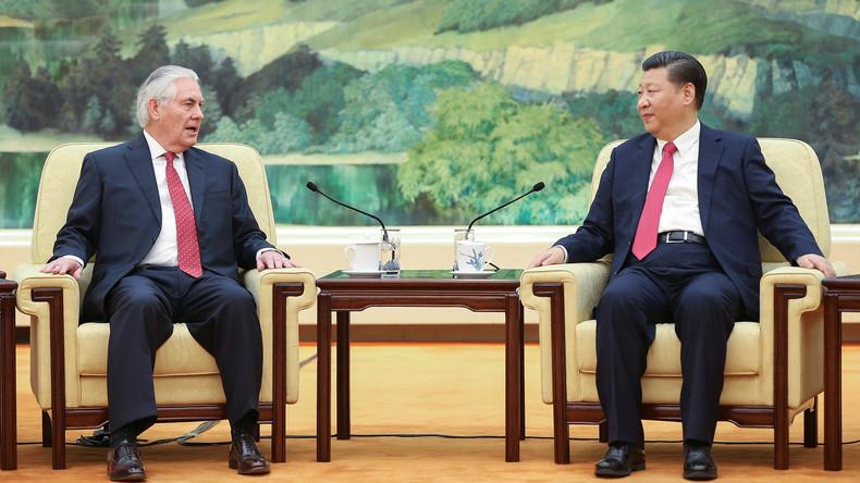 Chinas Staatspräsident Xi Jinping empfängt US-Außenminister Rex Tillerson