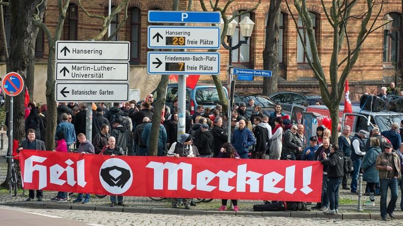 """Protestler in Halle begrüßen Bundeskanzlerin mit """"Heil Merkel""""-Ausruf"""