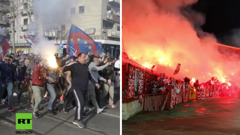 Stimmung während und nach dem Fußball-Spiel zwischen Spartak Moskau und Red Star Belgrad.