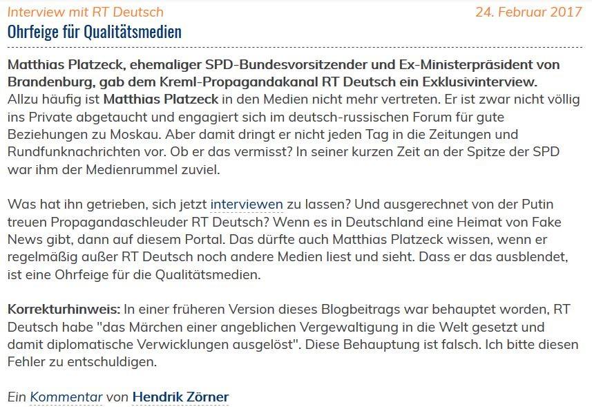 Deutscher Journalistenverband entschuldigt sich für Verbreitung von Fake News über RT Deutsch